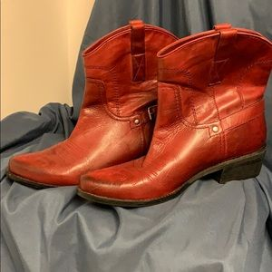 Franco Sarto red leather cowboy boots Sz 9.5